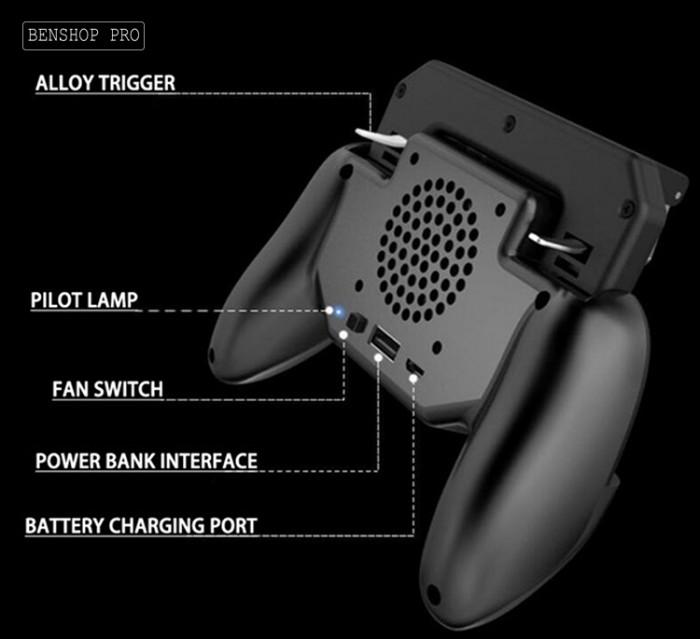 Tay cầm chơi game PUBG cao cấp tích hợp quạt tản nhiệt và sạc dự phòng cho điện thoại SR2 (4000mAh)17