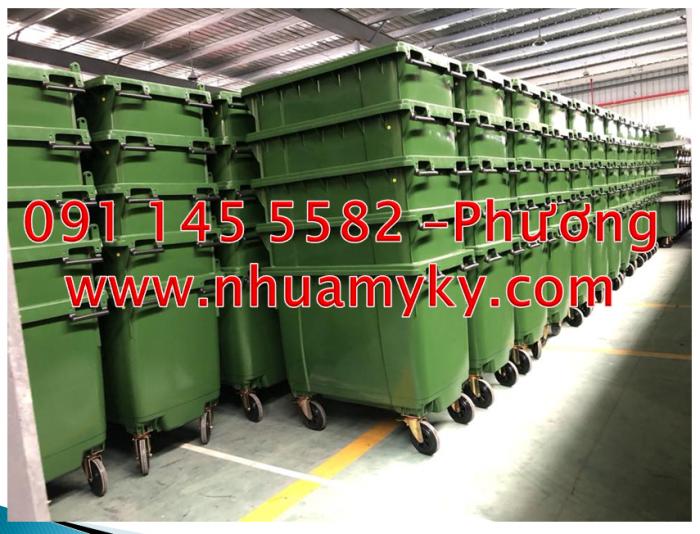 Bán xe thu gom rác 660 lít quận 10,thùng rác công cộng 1000 lít ,thùng rác nhựa composite 660 lít
