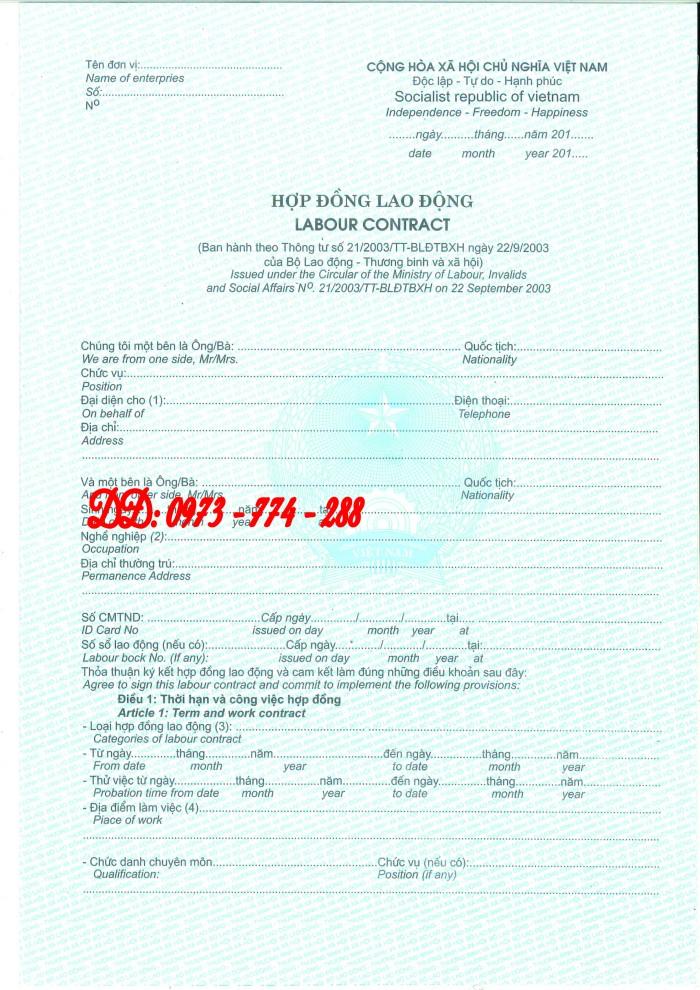 Hợp đồng lao động Tiếng Việt và Tiếng Anh  (Song ngữ)4