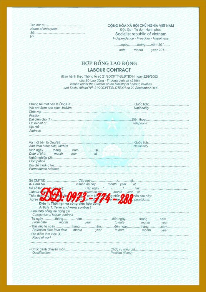Hợp đồng lao động Tiếng Việt và Tiếng Anh  (Song ngữ)2
