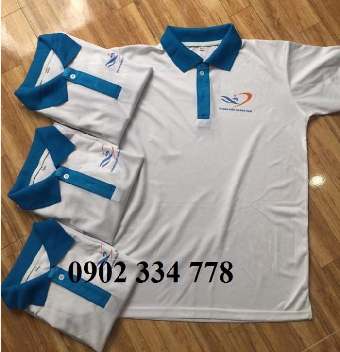 xưởng may áo thun đồng phục trắng cổ xanh