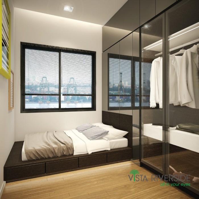 Căn hộ Singapore - căn góc 2 mặt tiền đường 2 phòng ngủ , có ban công view sông Sài Gòn.