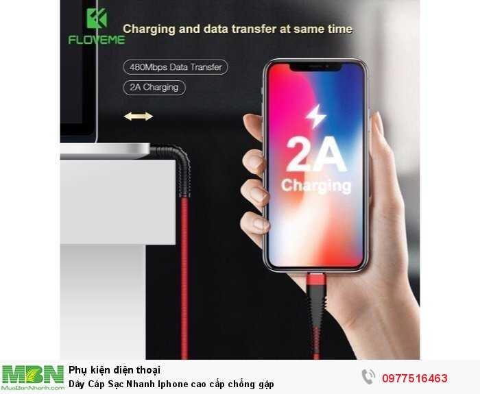 Dây Cáp Sạc Nhanh Iphone cao cấp chống gập