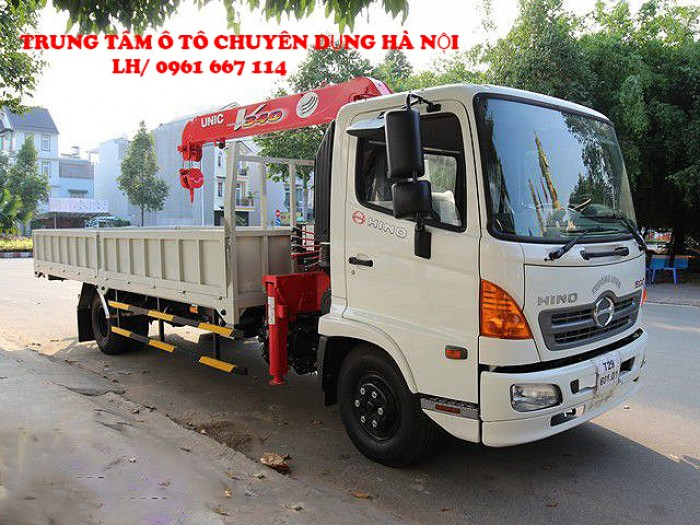 Xe tải 7 tấn HINO FC9JLSW gắn cẩu 3 tấn 5 đốt UNIC model URV345 thùng dài 6m | Giá siêu khuyến mãi | Hỗ trợ 2% thuế trước bạ