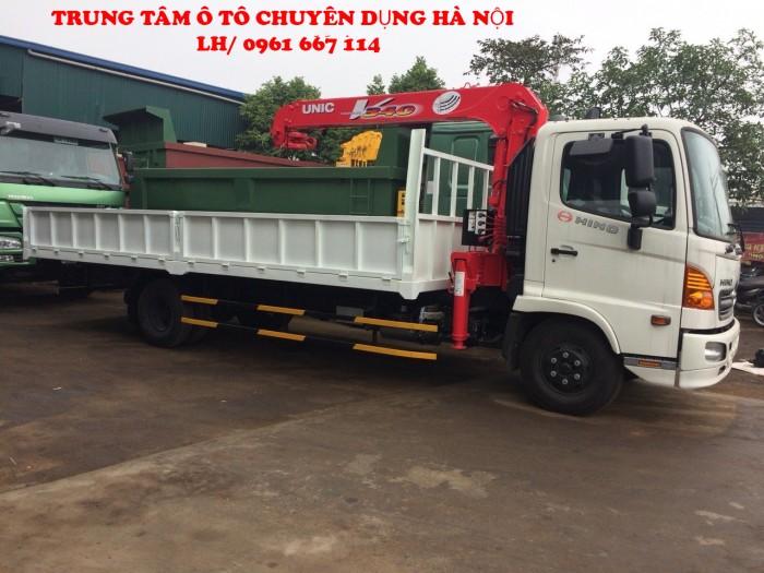 Xe tải 7 tấn HINO FC9JLSW gắn cẩu 3 tấn 6 đốt UNIC model URV346 thùng dài 6m   Hỗ trợ trả góp khi mua xe 2