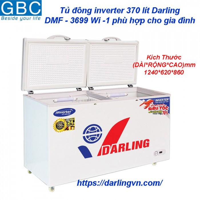 Tủ đông Darling inverter 2 ngăn đông mát 370 lít0