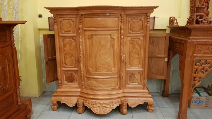 Tủ thờ trơn bụng phệ gỗ gõ đỏ2