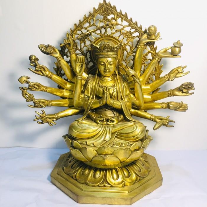 Tượng Phật bà chuẩn đề cao 25cm bằng đồng nguyên chất5