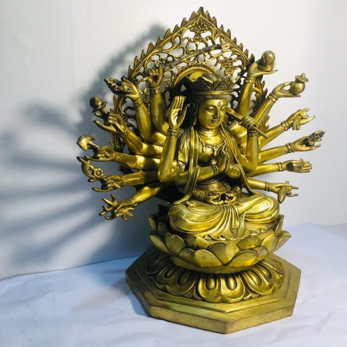 Tượng Phật bà chuẩn đề cao 25cm bằng đồng nguyên chất1