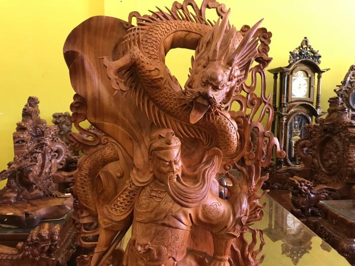 Tượng quan công cưỡi rồng gỗ hương3