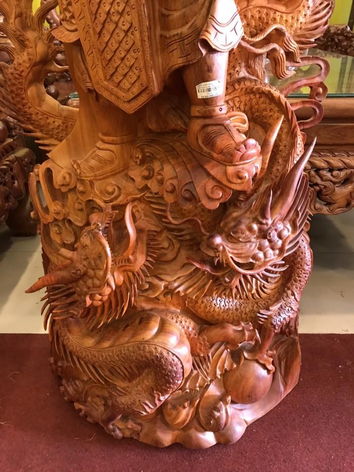 Tượng quan công cưỡi rồng gỗ hương1