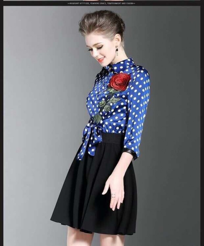 [1] Đầm xòe giả set thêu hoa hồng nổi