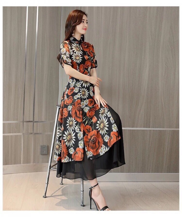 [4] Đầm xòe from dài cổ tàu giả set