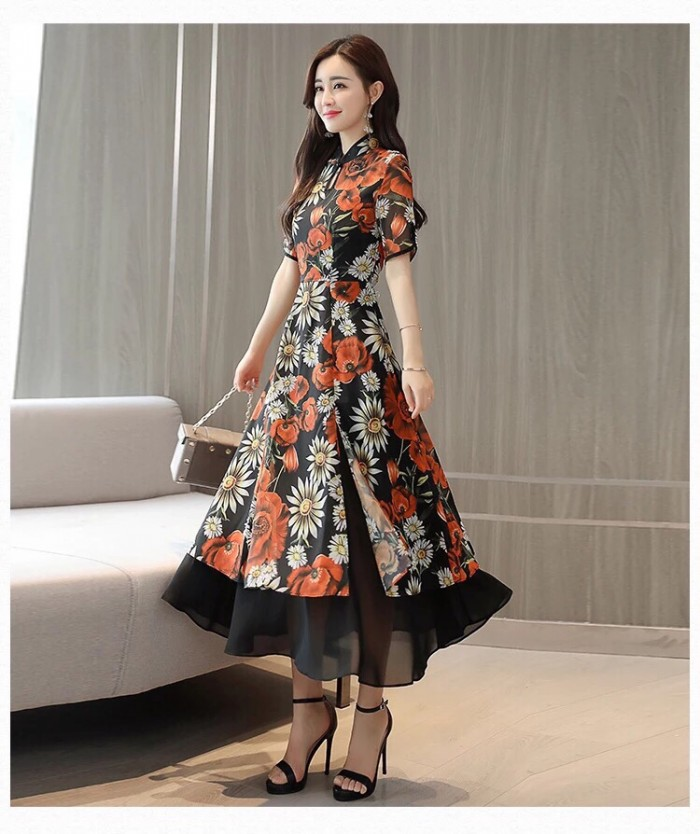 [3] Đầm xòe from dài cổ tàu giả set