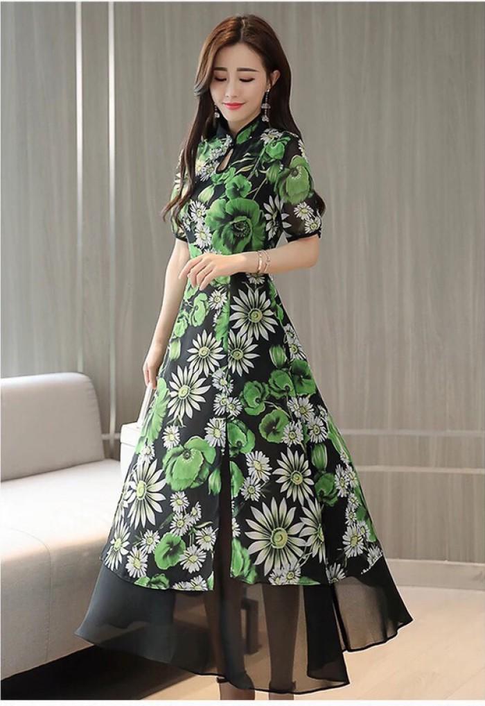 [2] Đầm xòe from dài cổ tàu giả set