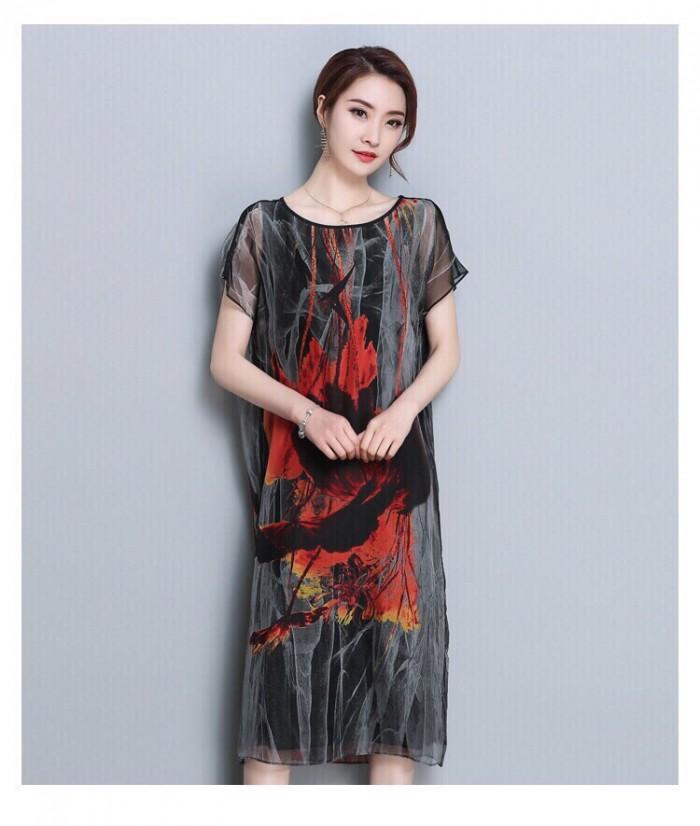 [1] Đầm suông tay con phối màu