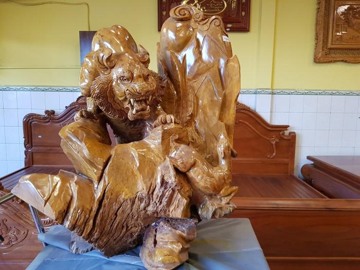 Tượng hổ gỗ nu kháo 90cm7