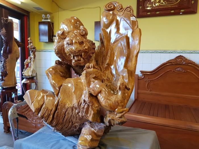 Tượng hổ gỗ nu kháo 90cm5