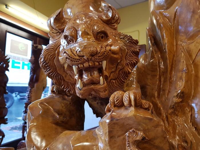 Tượng hổ gỗ nu kháo 90cm6