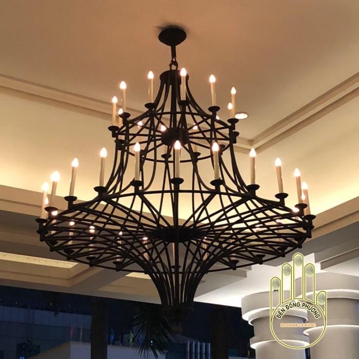 Đèn chùm sắt 2 tầng hiện đại cho sảnh0