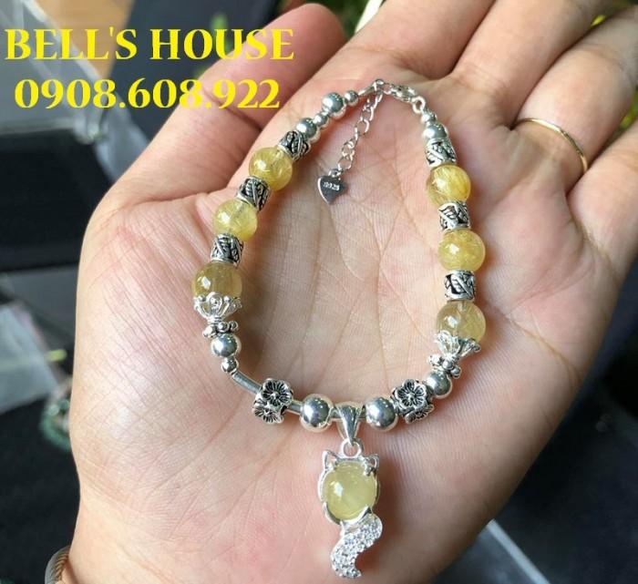 Vòng tay đá thạch anh tóc Vàng phối charm Bạc Thái 925 VIP,0