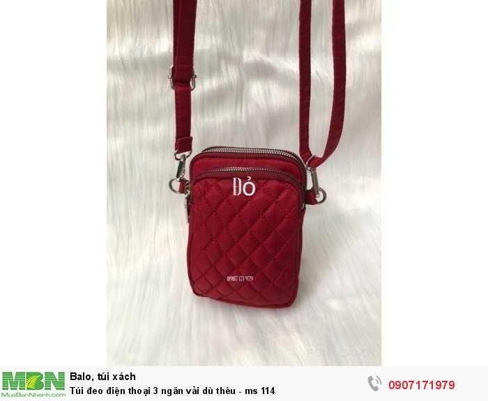 Túi đeo điện thoại 3 ngăn vải dù thêu - ms 114