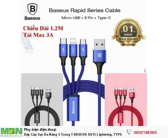 Dây Cáp Sạc Đa Năng 3 Trong 1 BASEUS SU13 Lightning, TYPE-C Và Micro USB0