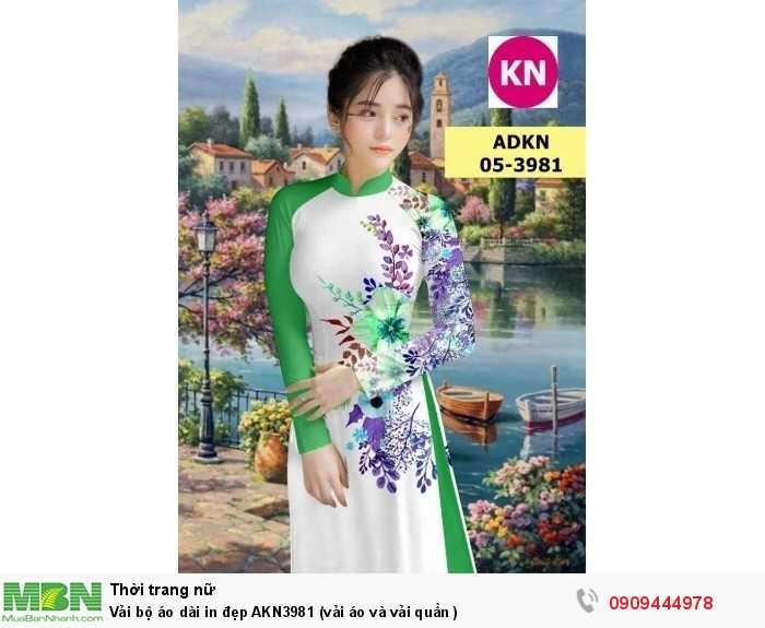 Vải bộ áo dài in đẹp AKN3981 (vải áo và vải quần )0