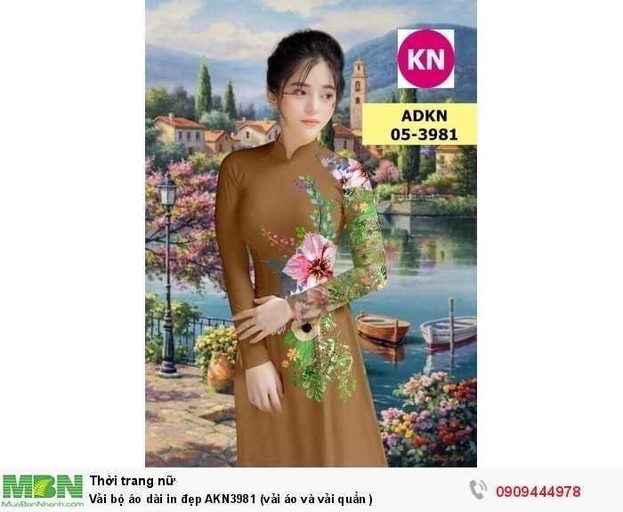 Vải bộ áo dài in đẹp AKN3981 (vải áo và vải quần )1