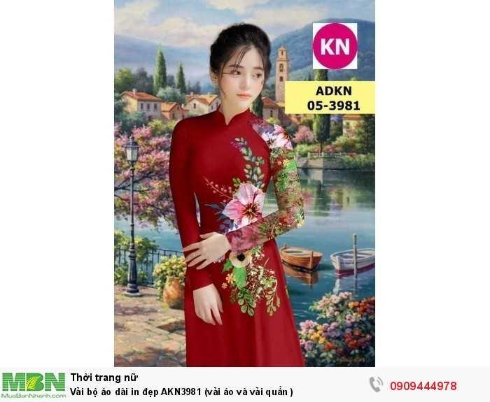 Vải bộ áo dài in đẹp AKN3981 (vải áo và vải quần )3