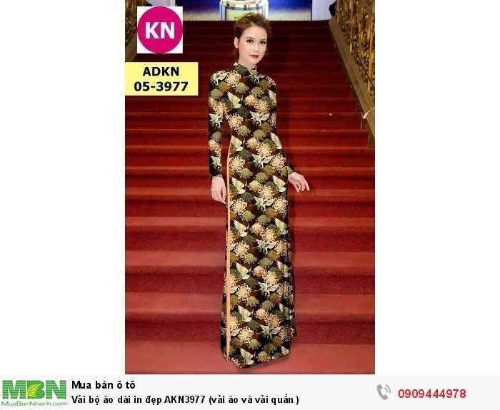 Vải bộ áo dài in đẹp AKN3977 (vải áo và vải quần )1