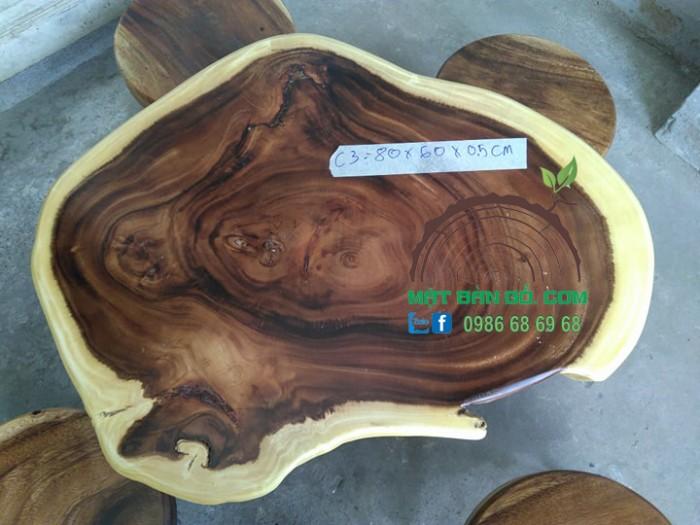 Bộ bàn cafe mặt gỗ nguyên tấm C3