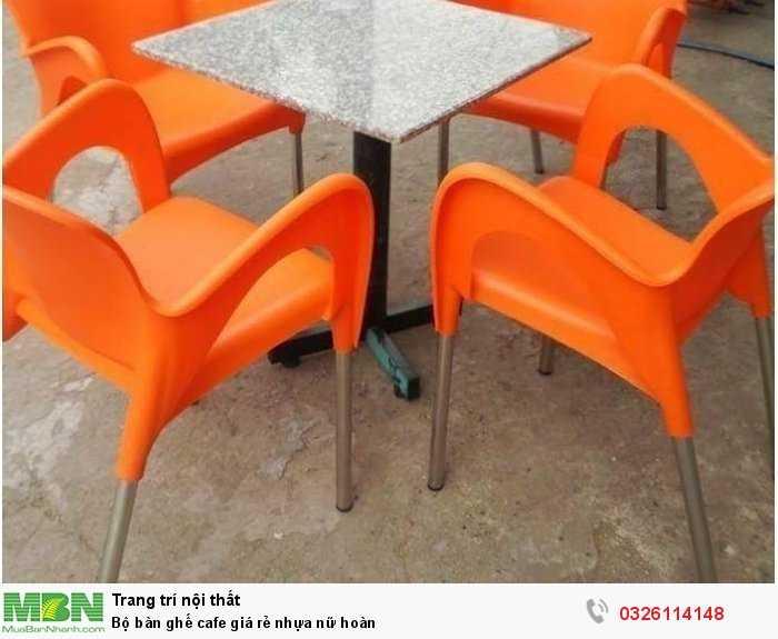 Bộ bàn ghế cafe giá rẻ nhựa nữ hoàn0