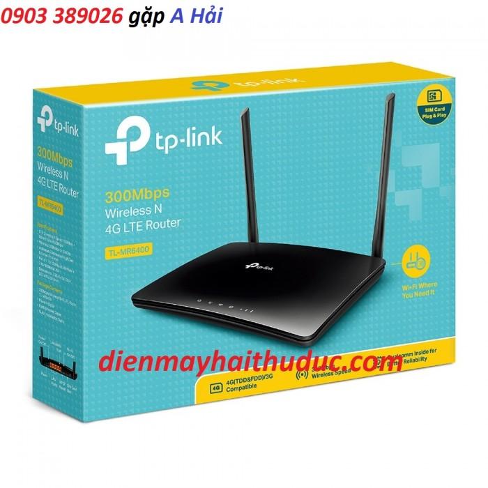 Hãng sản xuất: TP-LINK,  Kiểu TP-MR6400. Xuất xứ: chính hãng Tính năng: Bộ Phát Wifi không dây, hỗ trợ sim 3/ 4G LTE