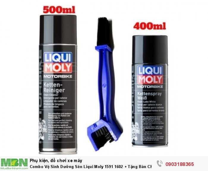1. Chai rửa sên (xích) Liqui Moly Chain Cleaner 1602: mang lại hiệu quả cao trong việc vệ sinh, làm sạch sên trần xe cào cào, xe địa hình, đặc biệt là các dòng xe mô tô phân khối lớn 2. Liqui Moly Chain Lube 1591: là nhớt bôi trơn chịu áp lực cao Fully Synthetic, một sản phẩm chất lượng của tập đoàn nhớt Liqui Moly danh tiếng hàng đầu nước Đức