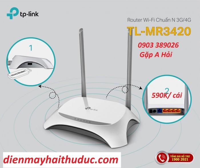 Router phát wifi TP-Link TL-MR 3420 hỗ trợ Hai Chế Độ Hoạt Động, cố định và di động qua khe cắm USB 3/ 4G