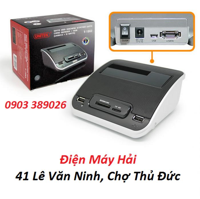 Đầu Dock Unitek Y-1062 tốc độ eSata 3Gbps, USB 2.0 đến 480Mbps. Đi kèm với 2 khe cắm (1) SLOT SD, (2) Micro SD + M2,1