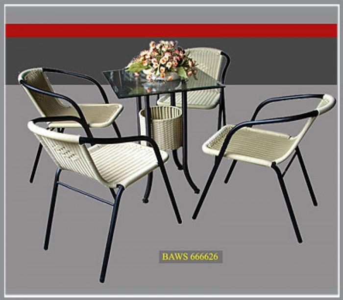 bàn ghế cafe mây nhựa giá rẻ tại xưởng sản xuất HGH 12450