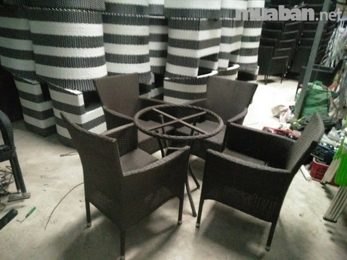 bàn ghế cafe mây nhựa giá rẻ tại xưởng sản xuất HGH 12460