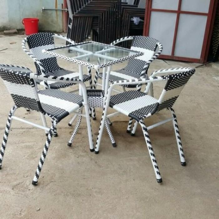 bàn ghế cafe mây nhựa giá rẻ tại xưởng sản xuất HGH 1249