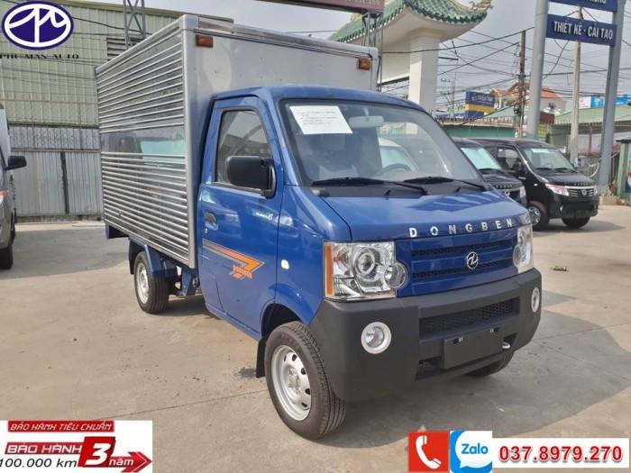 Xe tải nhỏ DONGBEN thùng kín 770kg , KT thùng dài 2.450 , màu xanh