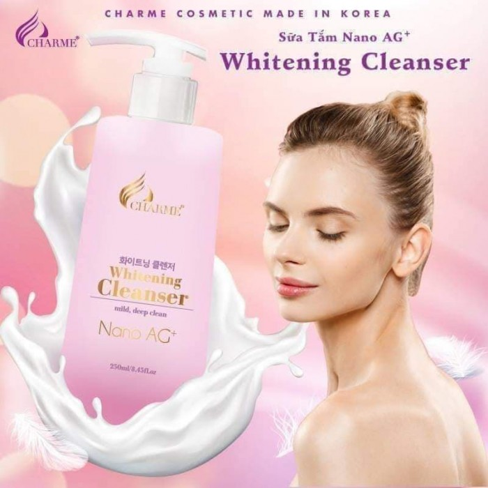 Sữa Tắm Trắng Da Trị Mụn Nano AG+ Whitening Cleanser Charme Hàn Quốc