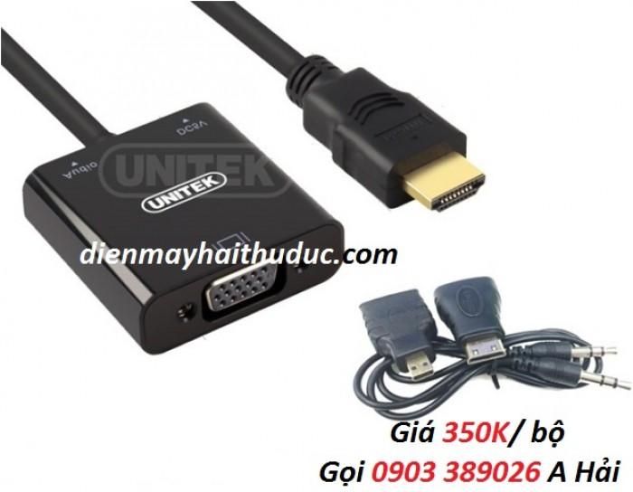 Cable HDMI ra VGA Unitek Y-6333, dây nối chuyển cổng HDMI ra vga0