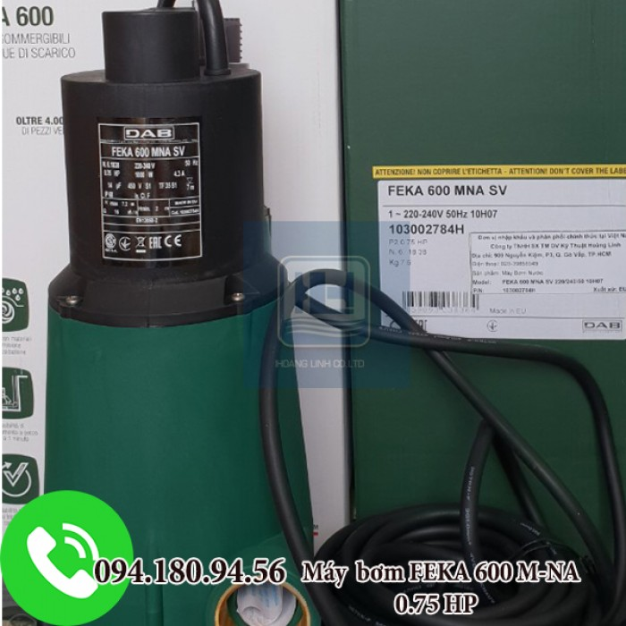 Máy bơm chìm nước thải nhựa 600M-NA SV 0.75HP không phao hãng DAB0