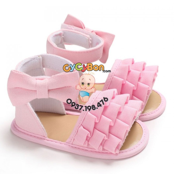 Giày Cho Bé Gái Tập Đi Sandal Hồng Xếp Ly Đính Nơ Hồng2
