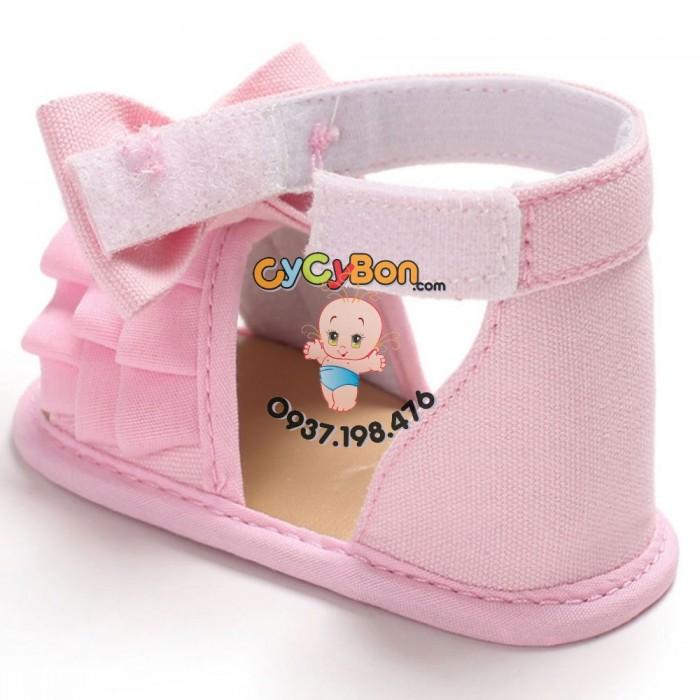 Giày Cho Bé Gái Tập Đi Sandal Hồng Xếp Ly Đính Nơ Hồng1