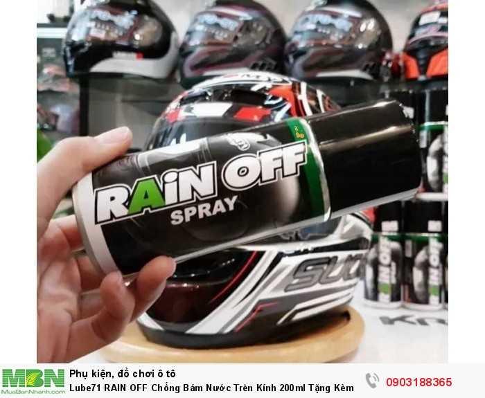 Lube71 RAIN OFF sản phẩm với công dụng phủ lớp nano, tạo hiệu ứng lá sen cho kính xe ô tô, kính mũ bảo hiểm... chống nước bám kính.