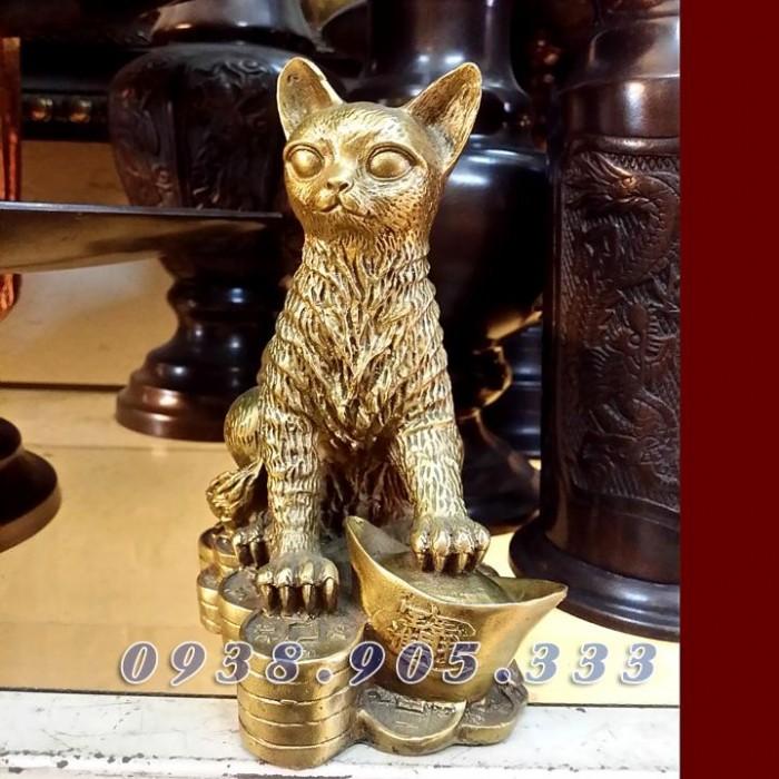 Tượng mèo đồng cao 15cm2