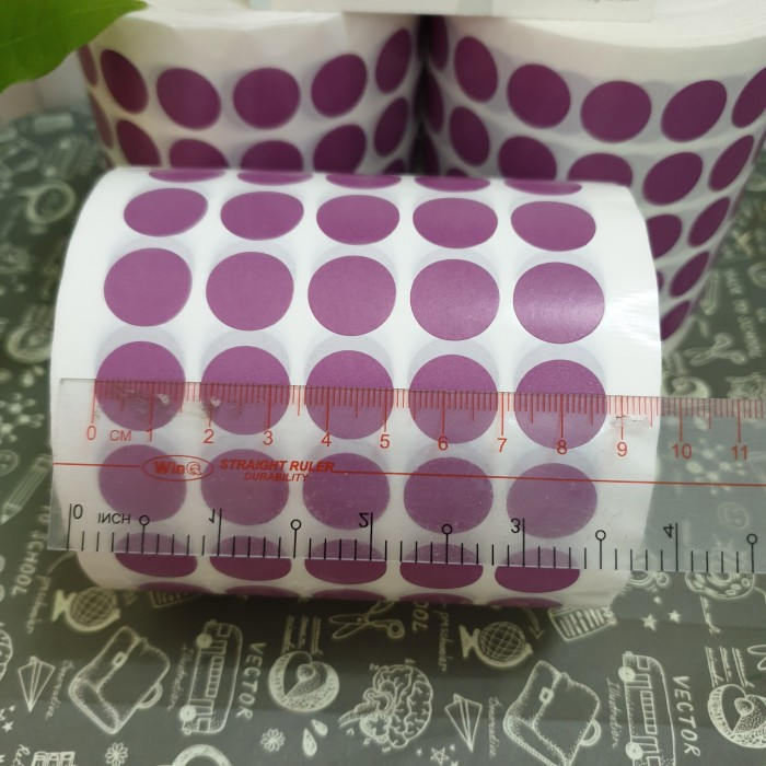 tem tròn dán lỗi màu tím 1.5cm 2cm5