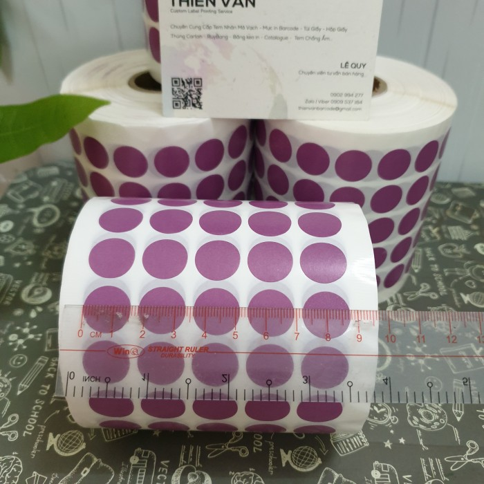 tem tròn dán lỗi màu tím 1.5cm 2cm3